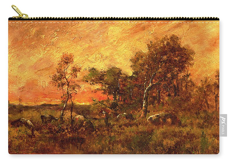 Wooded Carry-all Pouch featuring the painting Wooded Landscape With A Faggot Gatherer by Pierre Etienne Theodore Rousseau