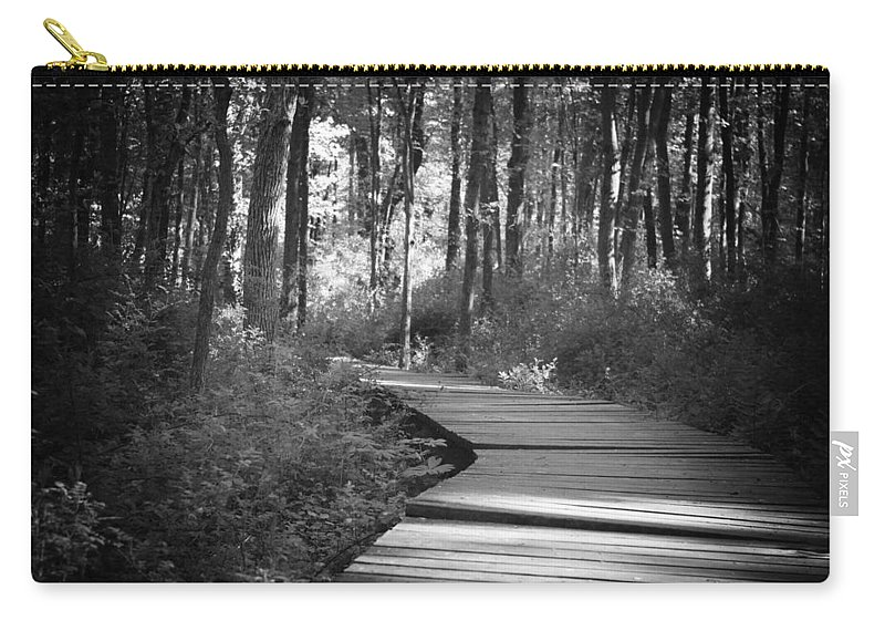 Black And White Carry-all Pouch featuring the photograph Wooded Walk by Scott Wyatt