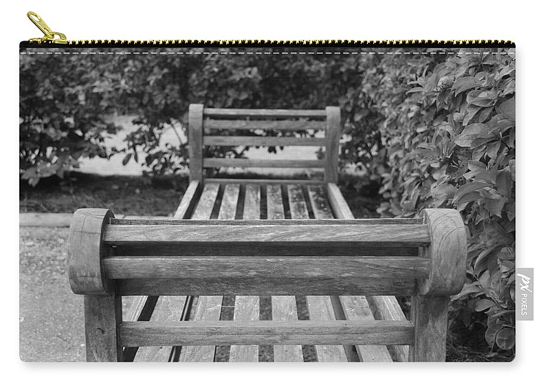 Bushes Carry-all Pouch featuring the photograph Wooden Bench by Rob Hans