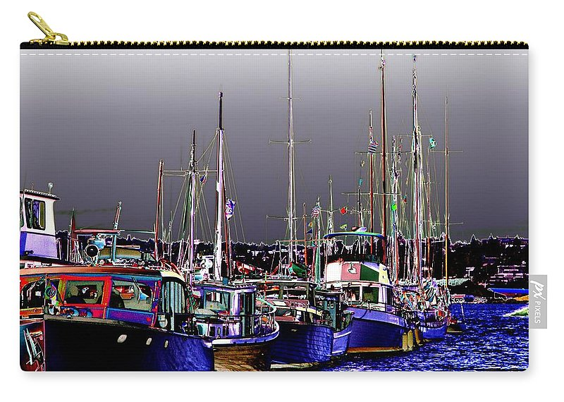 Seattle Carry-all Pouch featuring the digital art Wooden Boats 2 by Tim Allen