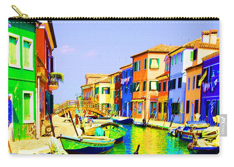 Burano Carry-all Pouch featuring the pastel Wooden Bridge To Despar by Donna Corless
