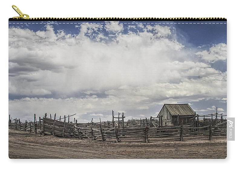 Ranch Carry-all Pouch featuring the photograph Wooden Fenced Corral Out West by Randall Nyhof