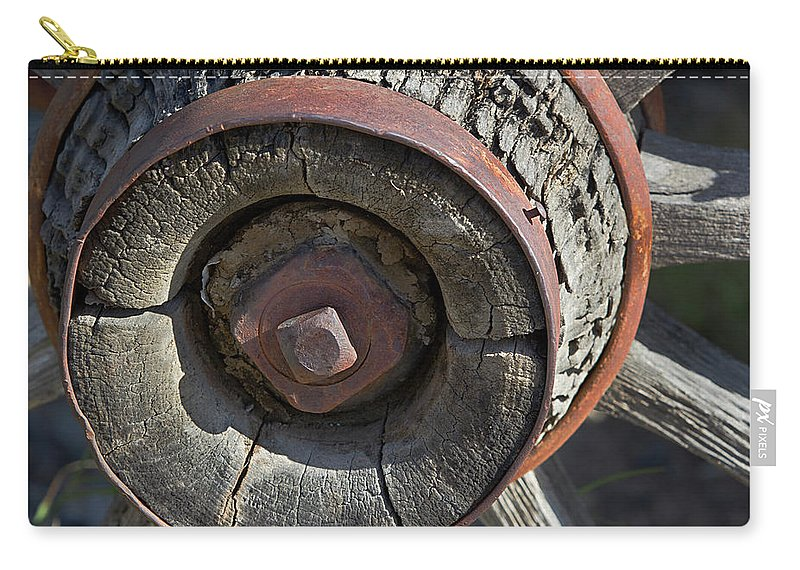 Wheel Carry-all Pouch featuring the photograph Wooden Hub by Phyllis Denton