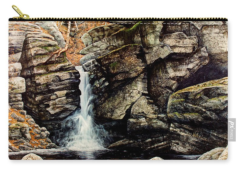 Waterfall Carry-all Pouch featuring the painting Woodland Falls by Frank Wilson