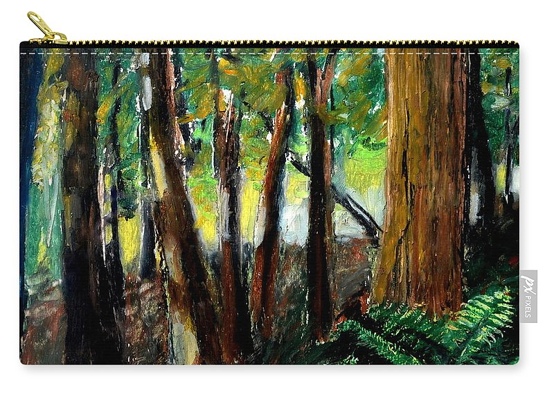 Livingston Trail Carry-all Pouch featuring the drawing Woodland Trail by Michelle Calkins