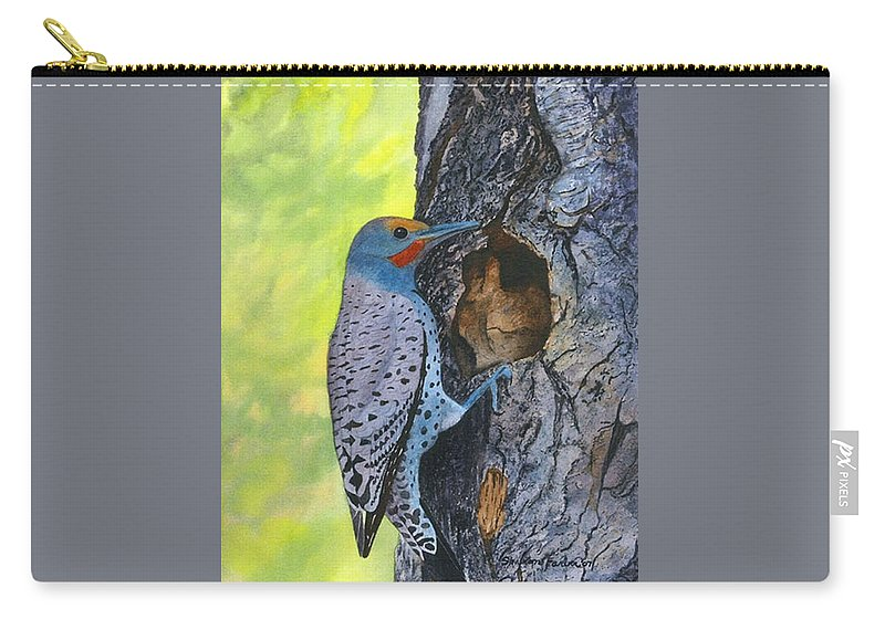 Woodpecker Carry-all Pouch featuring the painting Woodpecker by Sharon Farber