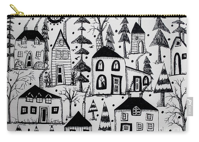 Houses Drawing Carry-all Pouch featuring the drawing Woodsy Village by Karla Gerard