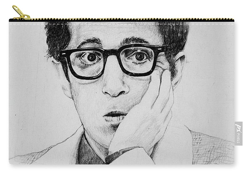 Portrait Carry-all Pouch featuring the drawing Woody Allen by James Deady