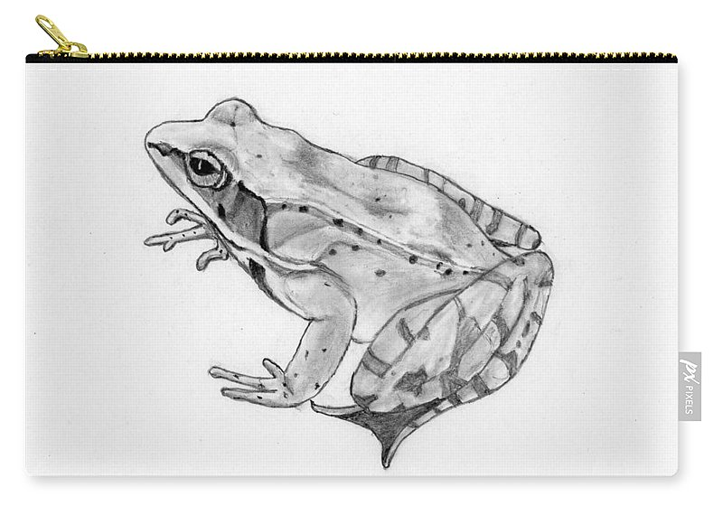 Frog Carry-all Pouch featuring the drawing Woody by George Sonner