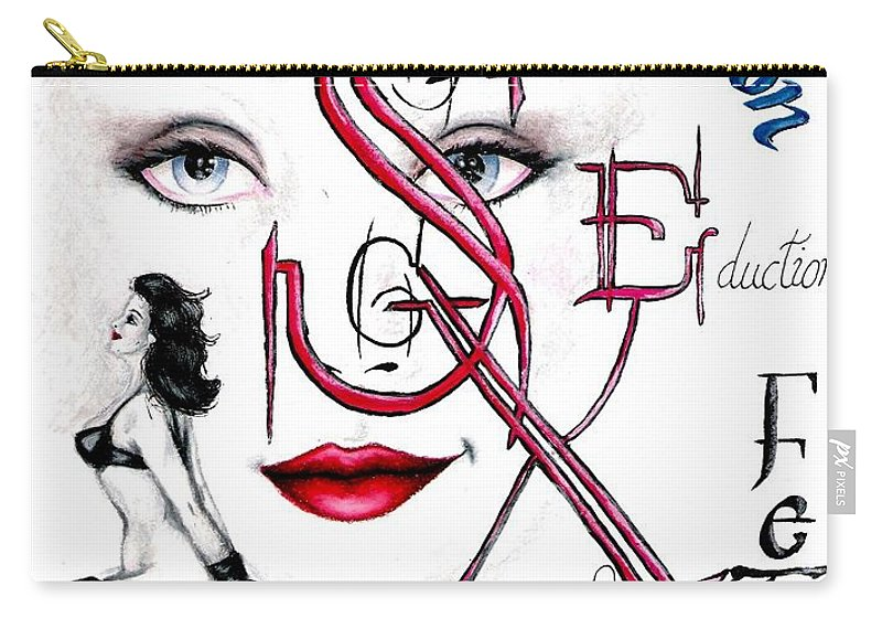 Erotic Carry-all Pouch featuring the drawing Words of the Dirty Mind by Scarlett Royal