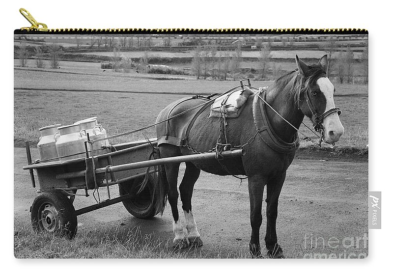 Cart Carry-all Pouch featuring the photograph Work Horse And Cart by Gaspar Avila