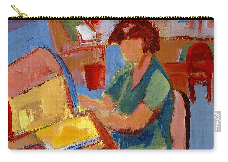 Betty Pieper Carry-all Pouch featuring the painting Working At The Former New York State Head Injury Association by Betty Pieper