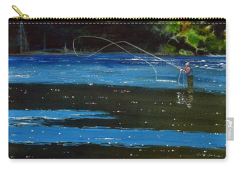 Fly Fishing Carry-all Pouch featuring the painting Working The Shadows 2 by Dale Cooper