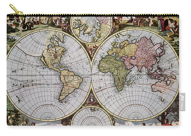 1690 Carry-all Pouch featuring the photograph World Map, C1690 by Granger