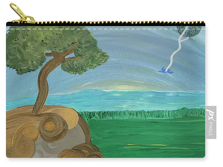 Landscape Carry-all Pouch featuring the painting World On A String by Sara Credito