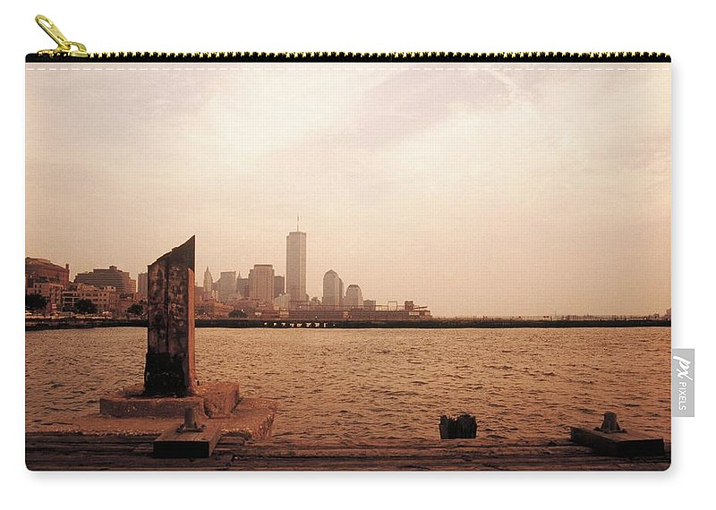 World Trade Center Carry-all Pouch featuring the photograph world Trade Center From Pier by Rachel Dunn