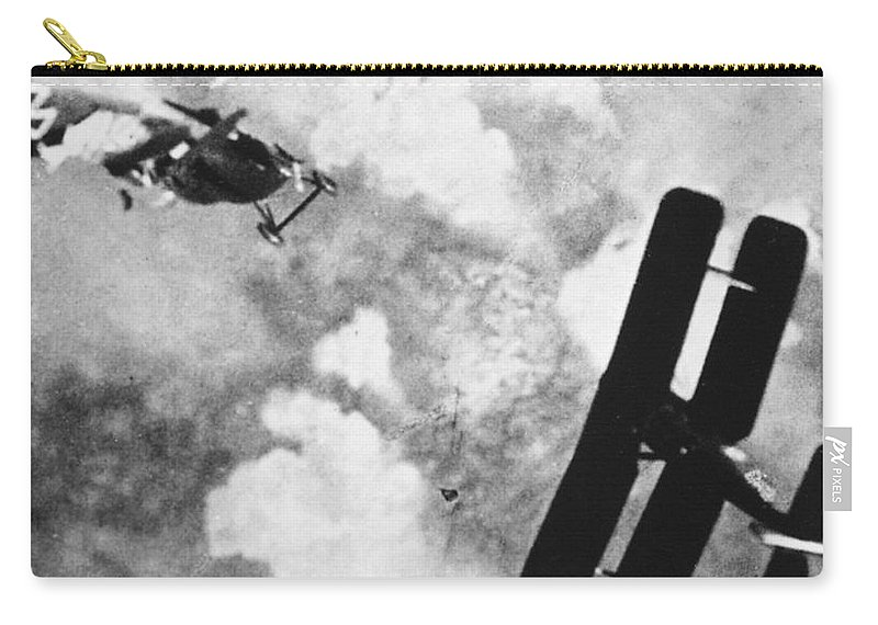 1914 Carry-all Pouch featuring the photograph World War I: Aerial Combat by Granger
