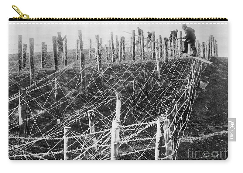 1914 Carry-all Pouch featuring the photograph World War I Barbed Wire by Granger