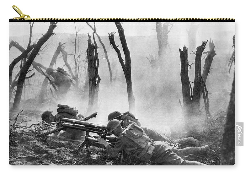 1918 Carry-all Pouch featuring the photograph World War I: Battlefield by Granger