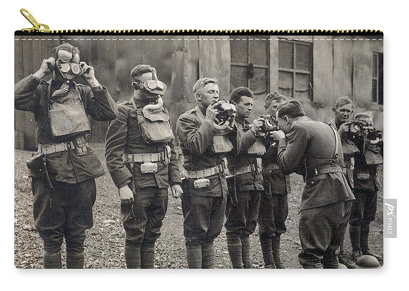 1918 Carry-all Pouch featuring the photograph World War I: Gas Masks by Granger