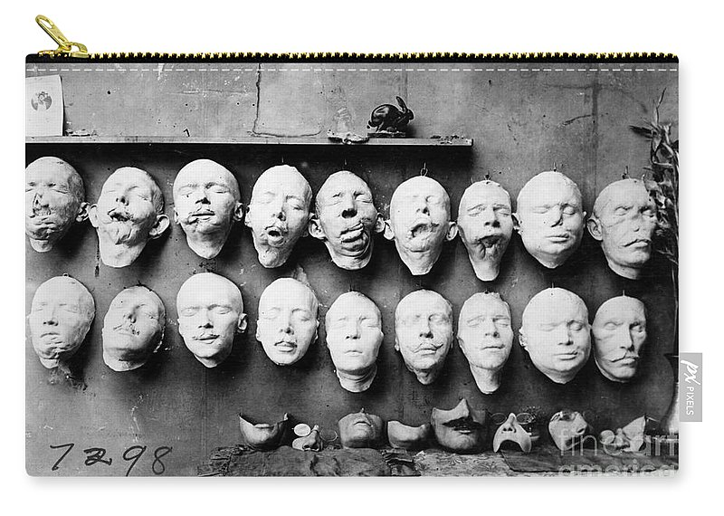 1918 Carry-all Pouch featuring the photograph World War I Masks, 1918 - To License For Professional Use Visit Granger.com by Granger