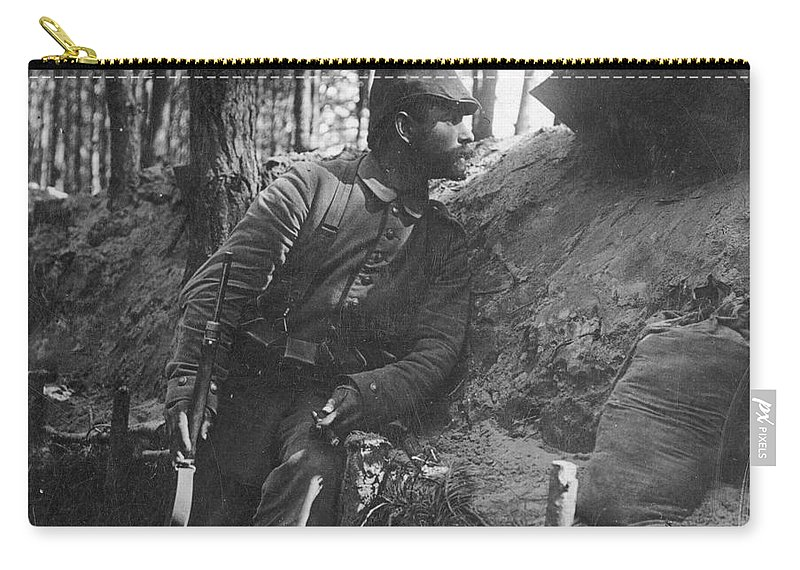 1916 Carry-all Pouch featuring the photograph World War I: Soldier by Granger