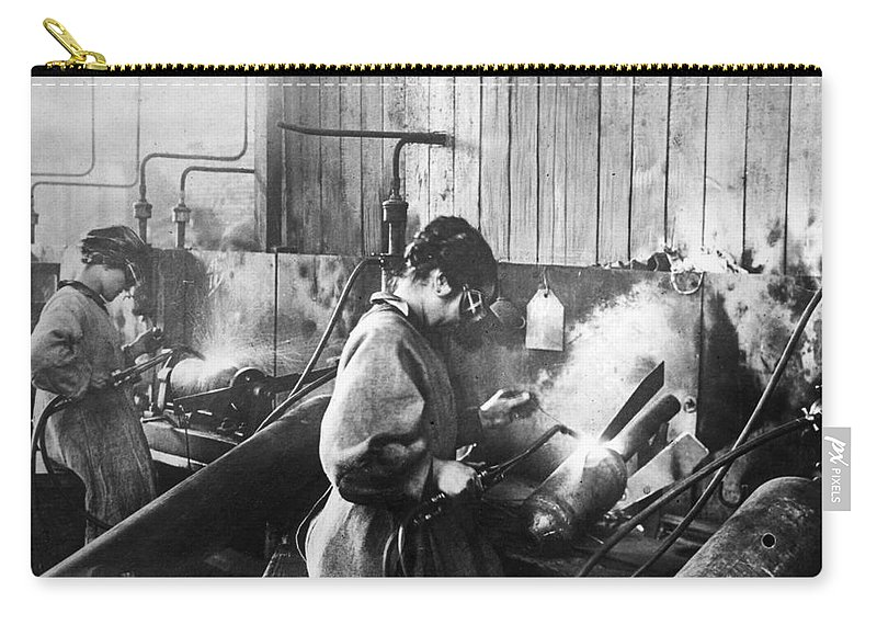 1917 Carry-all Pouch featuring the photograph World War I: Women Workers by Granger