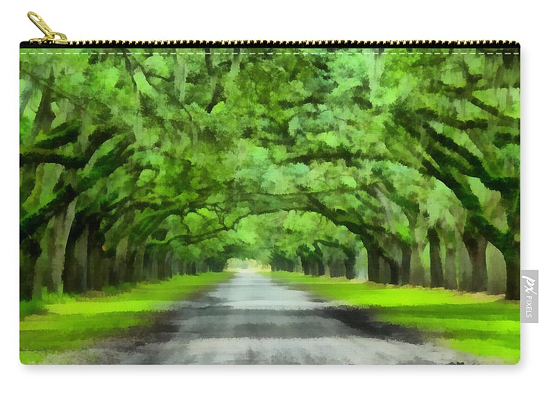 Oak Carry-all Pouch featuring the painting Wormsloe Plantation by Lynne Jenkins
