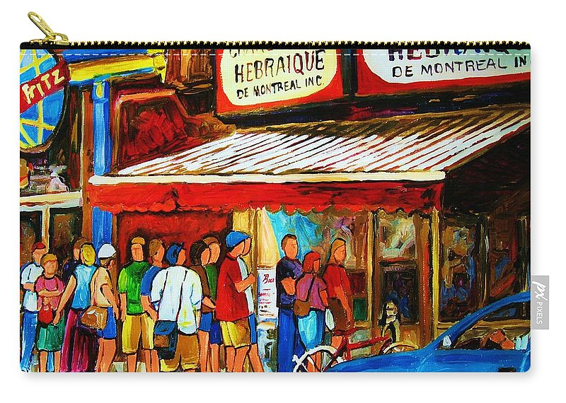 Montreal Streetscenes Carry-all Pouch featuring the painting Worth The Wait by Carole Spandau