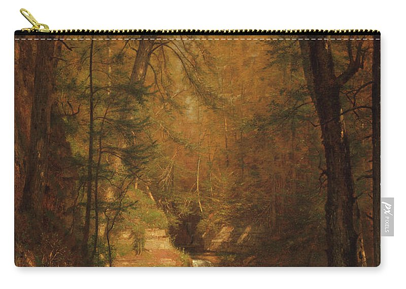 The Trout Pool Carry-all Pouch featuring the painting Worthington Whittredge by MotionAge Designs