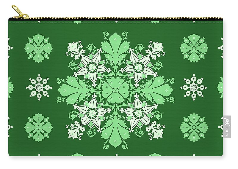Pattern Carry-all Pouch featuring the digital art Wrapping Wallpaper Floral Seamless Tile For Website Vector, Repeating Foliage Outline Floral Western by Svetlana Corghencea