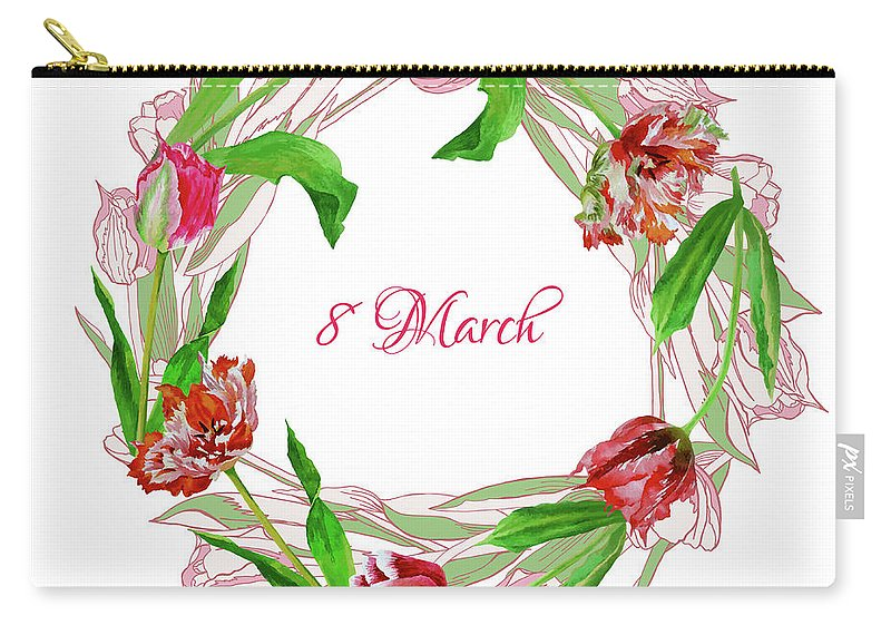 Bouquet Carry-all Pouch featuring the digital art Wreath With Tulips by Natalia Piacheva