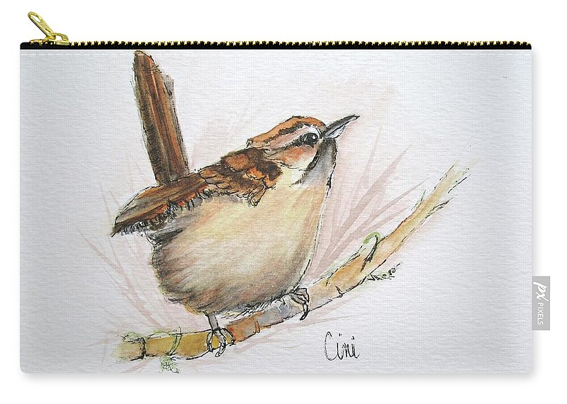 Songbird Carry-all Pouch featuring the painting Wren by Lisa Cini
