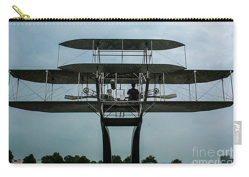 Wright Flyer Memorial Carry-all Pouch featuring the photograph Wright Flyer Memorial Dayton by Tommy Anderson