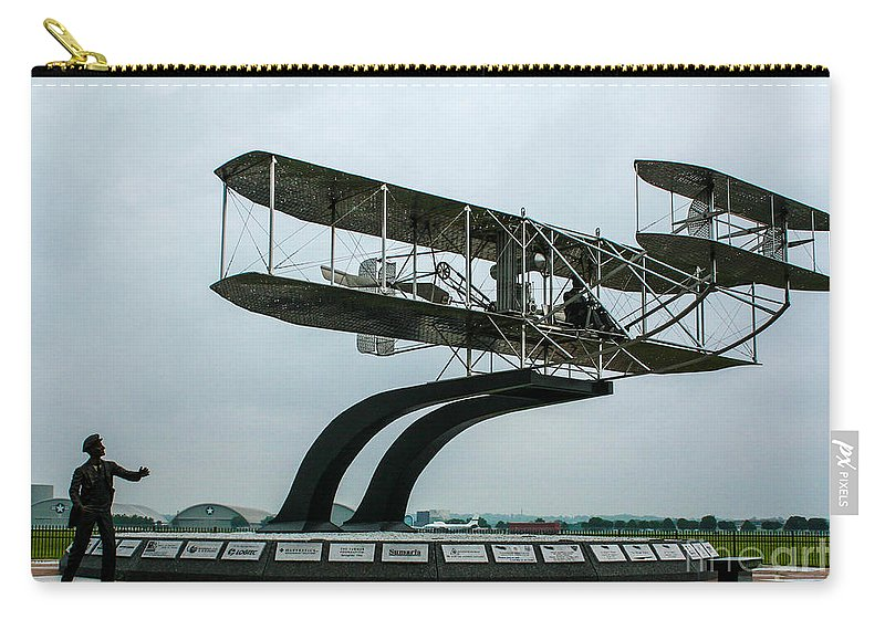 Wright Flyer Memorial Carry-all Pouch featuring the photograph Wright Flyer Memorial by Tommy Anderson