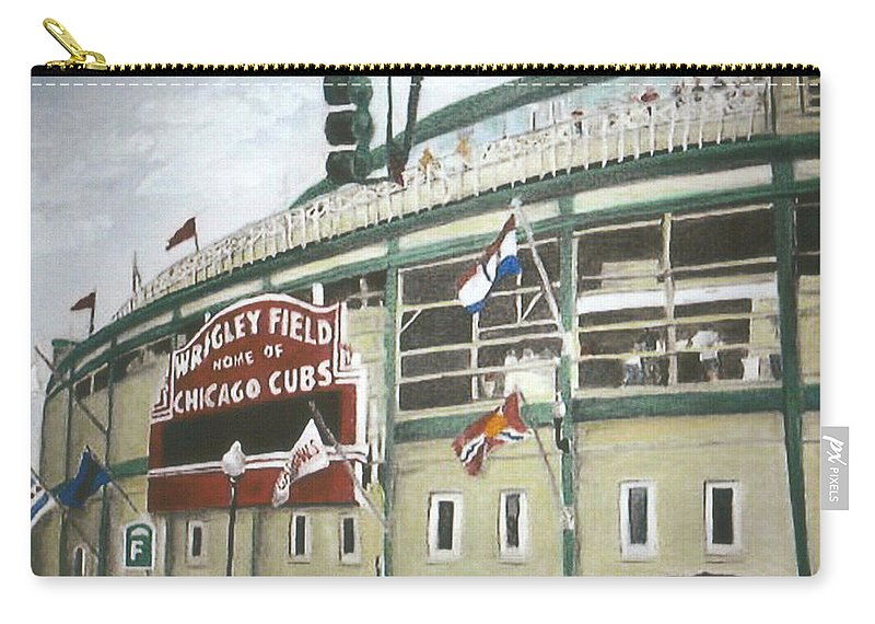 Wrigley Field Carry-all Pouch featuring the painting Wrigley Field by Travis Day