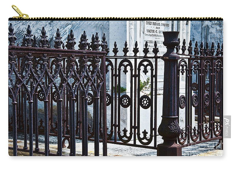 Iron Carry-all Pouch featuring the photograph Wrought Iron Cemetery Fence by Kathleen K Parker