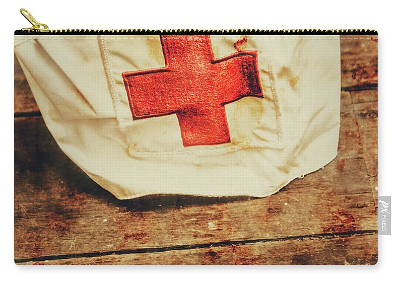 Vintage Carry-all Pouch featuring the photograph Ww2 Nurse Hat. Army Medical Corps by Jorgo Photography - Wall Art Gallery