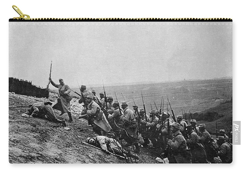 Army Carry-all Pouch featuring the photograph Wwi: French Attack by Granger