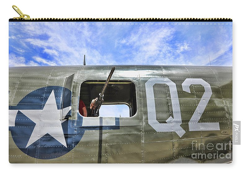 Wwii Carry-all Pouch featuring the photograph Wwii Aircraft Gun Window by Chuck Kuhn