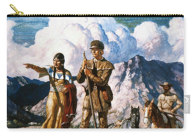 19th Century Carry-all Pouch featuring the painting Wyeth: Sacajawea by Granger