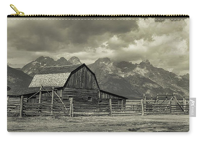 Silver Carry-all Pouch featuring the photograph Wyoming Mormon Row Moulton Barn Silver Panorama by James BO Insogna