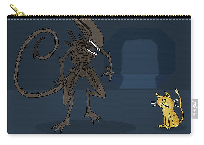 Cartoon Carry-all Pouch featuring the drawing Xenomorph Vs Jonesy by Brian Cattapan