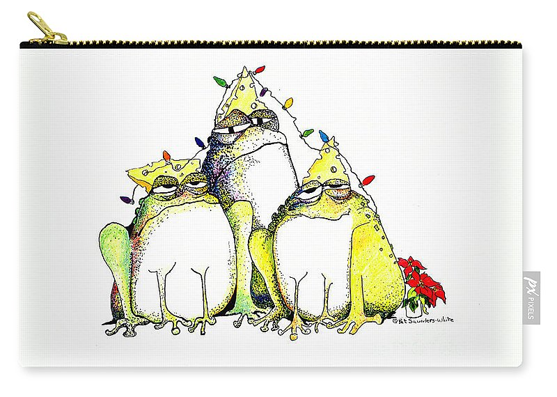 Christmas Card Carry-all Pouch featuring the greeting card Xmas Lights by Pat Saunders-White