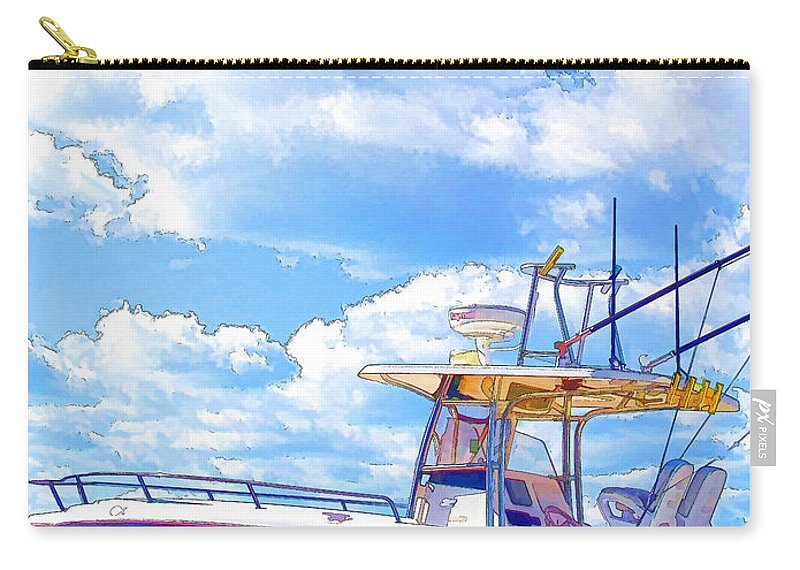 Afloat Carry-all Pouch featuring the painting Yacht by Jeelan Clark