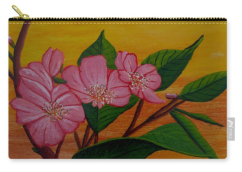 Yamazakura Carry-all Pouch featuring the painting Yamazakura Or Cherry Blossom by Anthony Dunphy