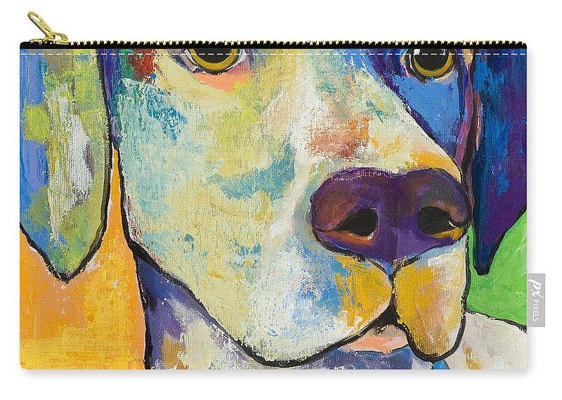 German Shorthair Animalsdog Blue Yellow Acrylic Canvas Carry-all Pouch featuring the painting Yancy by Pat Saunders-White