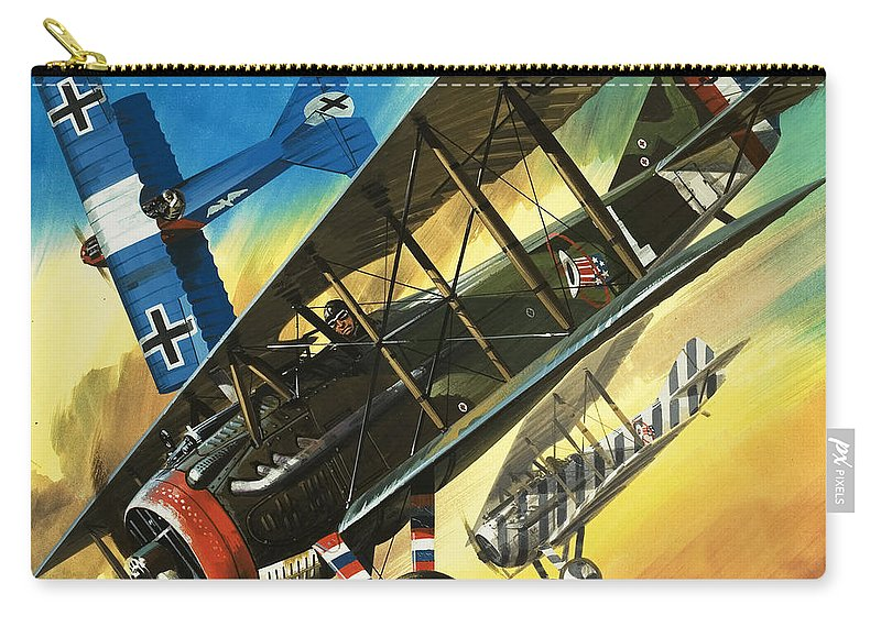 Freedom Of The Skies Carry-all Pouch featuring the painting Yankee Super Ace Edward Rickenbacker by Wilf Hardy