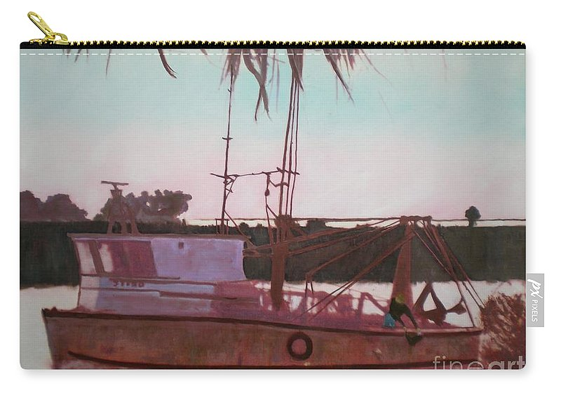 Seascape Carry-all Pouch featuring the digital art Yankee Town Fishing Boat by Hal Newhouser