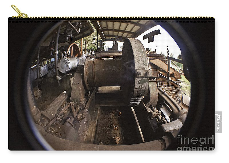 Clay Carry-all Pouch featuring the photograph Ye Olde Logging Camp by Clayton Bruster